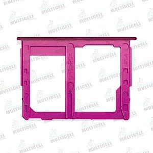 GAVETA DE CHIP SAMSUNG J415 J4 PLUS J610 J6 PLUS VERMELHO ROSE (CHIP 2 + SIM CARD) ORIGINAL