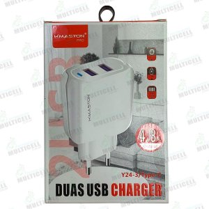 CARREGADOR USB H'MASTON SUPER RAPIDO 4.8A Y24-3 MODELO TIPO C