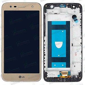 GABINETE FRONTAL LCD DISPLAY TOUCH SCREEN MODULO COMPLETO M320 LG K10 POWER DOURADO 1ª LINHA QUALIDADE AAA