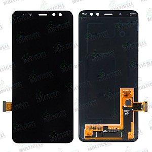 GABINETE FRONTAL DISPLAY LCD MODULO COMPLETO SAMSUNG A530 GALAXY A8 2018 PRETO ORIGINAL (CHINA OLED)