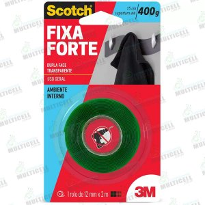 FITA DUPLA FACE TRANSPARENTE 3M SCOTCH 12mm x 2mt