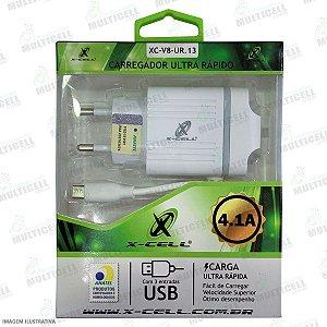 CARREGADOR ULTRA RAPIDO XC-V8-UR.13 4.1A X-CELL ENTRADA MICRO USB V8