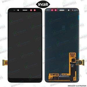 GABINETE FRONTAL DISPLAY LCD MODULO COMPLETO SAMSUNG A530 GALAXY A8 2018 PRETO (1ªLINHA QUALIDADE INCELL)