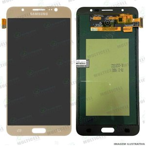 GABINETE FRONTAL DISPLAY LCD MODULO COMPLETO SAMSUNG J710 GALAXY J7 METAL DOURADO 1ªLINHA (QUALIDADE INCELL TTC)