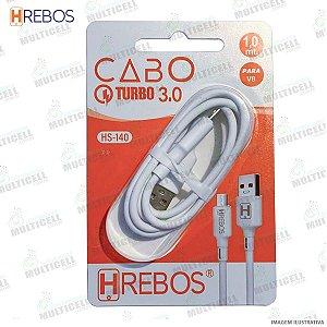 CABO USB TURBO POWER 3.0A MODELO V8 HREBOS HS-140 BRANCO