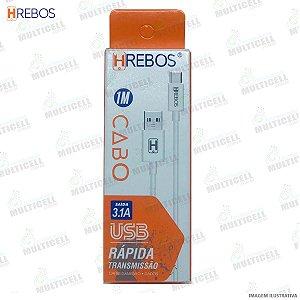 CABO USB TURBO 3.0A TRANSMISSÃO RAPIDA HREBOS HS-78 TIPOC