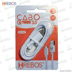 CABO USB TURBO POWER 3.0A MODELO LIGHTNING IPHONE HREBOS HS-142 BRANCO
