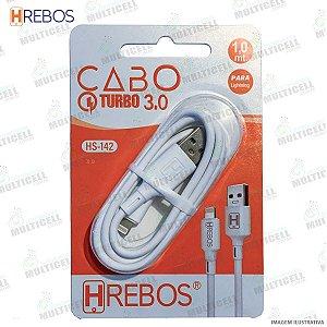 CABO USB TURBO POWER 3.0A MODELO LIGHTNING IPHONE HREBOS HS-142 BRANCO