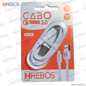 CABO USB TURBO POWER 3.0A MODELO TIPO C HREBOS HS-141 BRANCO
