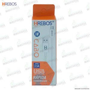 CABO USB TURBO 3.0A TRANSMISSÃO RAPIDA HREBOS HS-77 MICRO USB V8