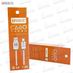 CABO USB TURBO 3.0A 1.2M TURBO HREBOS HS-124 TIPO C