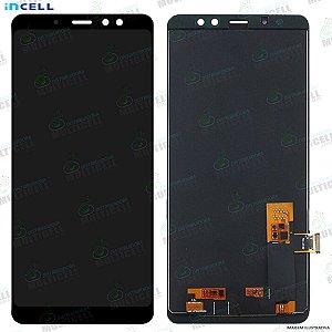 GABINETE FRONTAL DISPLAY LCD MODULO COMPLETO SAMSUNG A730 GALAXY A8 PLUS A8+ PRETO (1ªLINHA QUALIDADE INCELL)