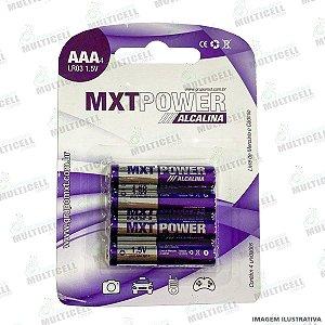 PILHA ALCALINA AAA / AAA4 LR03 MXT BLISTER C/ 4UND