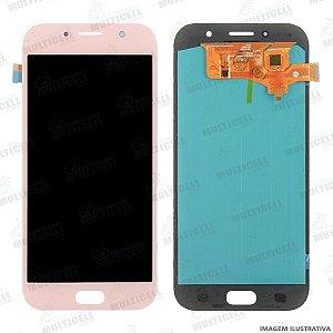 GABINETE FRONTAL DISPLAY LCD MODULO COMPLETO SAMSUNG A720 A7 2017 ROSA ORIGINAL CHINA (QUALIDADE OLED)