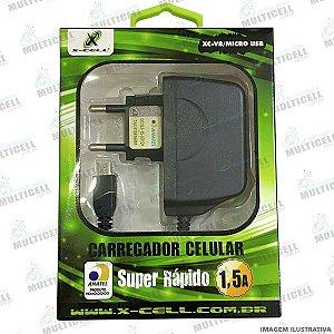 DUPLICADO - CARREGADOR X-CELL 2.0A MICRO USB V8 CARGA SUPER RAPIDO COM ENTRADA USB EXTRA