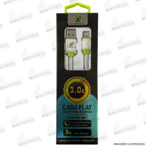 CABO USB FLAT 3.0A X-CELL XC-CD-58 ENTRADA LIGHTNING IPHONE