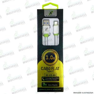 CABO USB FLAT 3.0A X-CELL XC-CD-60 ENTRADA TIPO C / TYPE C