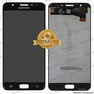 GABINETE FRONTAL DISPLAY LCD MODULO COMPLETO SAMSUNG G610 GALAXY J7 PRIME PRETO 1ªLINHA (QUALIDADE PREMIUM)