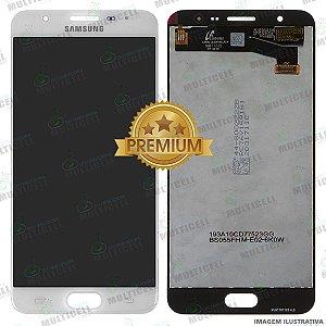 GABINETE FRONTAL DISPLAY LCD MODULO COMPLETO SAMSUNG G610 GALAXY J7 PRIME BRANCO 1ªLINHA (QUALIDADE PREMIUM)
