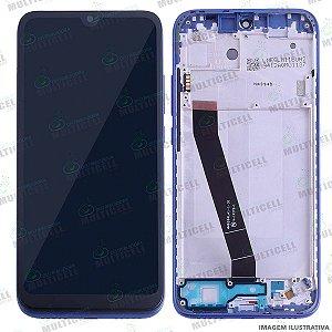 GABINETE FRONTAL DISPLAY LCD MODULO COMPLETO XIAOMI M1810F6LG REDMI 7 AZUL (ORIGINAL IMPORTADO C/ ARO)