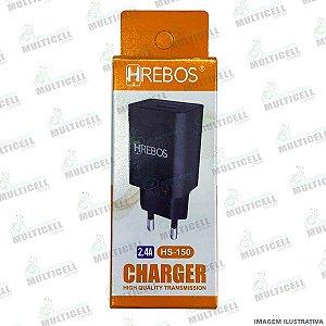 FONTE USB TURBO 2.4A HREBOS PRETO HS-150