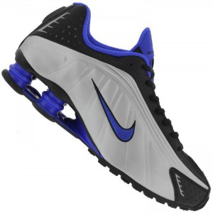 Tênis Nike Shox R4 - Branco/ Azul e Preto