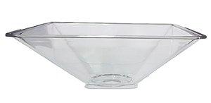 Cuba Plástica Transparente Quadrada de Sobrepor (Apoio) Para Banheiro