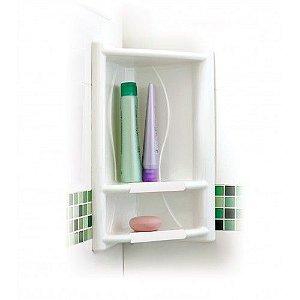 Porta Shampoo de Canto Branco Em Plástico