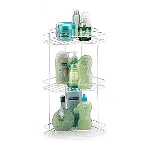 Porta shampoo Cantoneira Tripla para Banheiro Branco