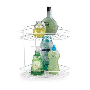 Porta shampoo Cantoneira Dupla para Banheiro Branco