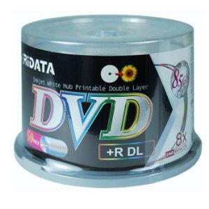 DVD+R Dual Layer 8.5GB/240min 8x - Ridata - Printable - 50 Unidades
