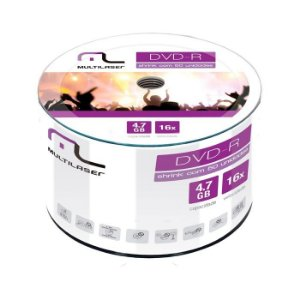 DVD-R 4.7GB 1-16x  - Multilaser - com Logo - 50 Unidades
