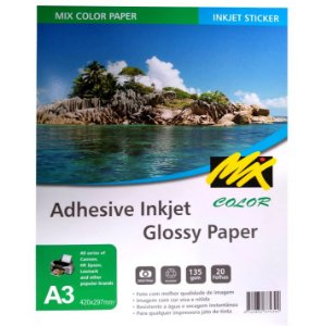 Papel Fotografico Adesivo 135gr A3 420X297mm - Pacote 20fls