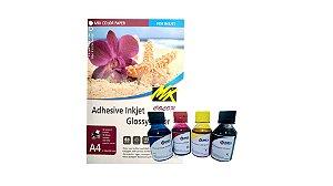Kit Papel Fotográfico Glossy A4 Adesivo 115g Mix Color 20 fls + 4 tintas para impressora Epson 100ml