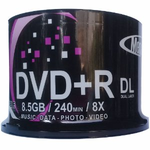 DVD Dual Layer 8.5GB/240min 1-8x - Mega Innovation - Printable - 50 Unidades