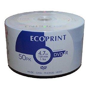 Midia Dvd-r Virgem Ecoprint C/logo 1-16x 4.7gb c/ 50 Uni