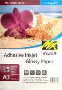 Papel Fotografico Adesivo A3 - 115g - 420x297mm 20fls - Glossy - mix color