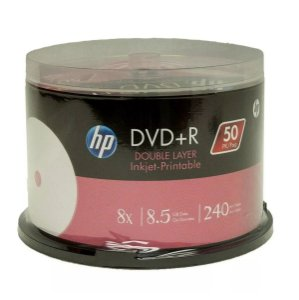 DVD-R Dual Layer DL 8.5GB/240min 8x - Printable - HP - 50 Unidades
