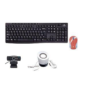 Kit 4 em 1 Teclado + Mouse + Caixinha + Webcam Foco Manual