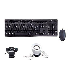 Kit 4 em 1 Teclado + Mouse M100 + Caixinha + Webcam Foco Manual