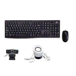 Kit 4 em 1 Teclado + Mouse M110 + Caixa de Som + Webcam foco manual