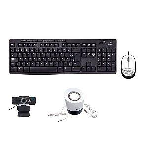 Kit 4 em 1 Teclado + Mouse M105 + Caixa de som + Webcam foco manual