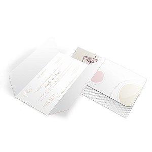 Convite de Casamento - 100x148mm em Envelope Aspen Perolizado 180g - 4x4 - Corte e Vinco - Clássico 02 - Sem Verniz