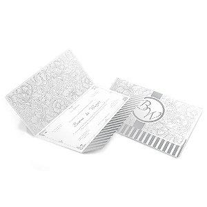 Convite de Casamento - 142x210mm em Aspen Perolizado 180g - 4x4 - Corte e Vinco - Clássico 03 - Sem Verniz
