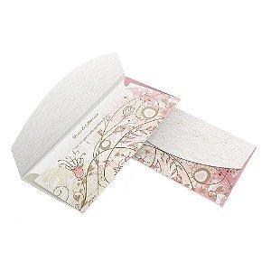 Convite de Casamento - 80x178mm em Envelope Reciclato 240g - Lâmina Reciclato 240g - 4x4 - Corte e Vinco - Clássico 04 - Sem Verniz