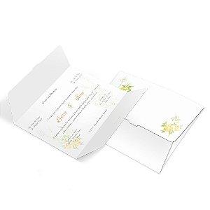 Convite de Casamento - 132x175mm em Envelope Couchê 250g - 4x4 - Corte e Vinco - Clássico 05 - Sem Verniz