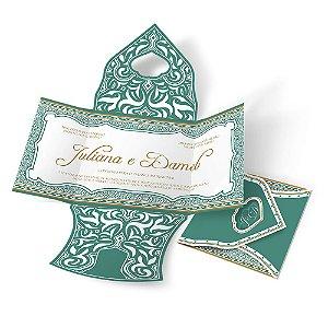 Convite de Casamento - 140x140mm em Envelope Aspen Perolizado 180g - 4x4 - Corte e Vinco - Especial 05 - Sem Verniz