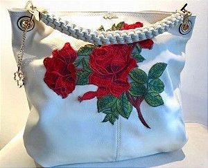 Bolsa grande rosas branca