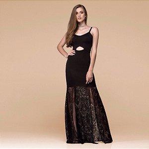 Vestido longo festa viscolycra renda preto