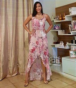 vestido longo festa estampado toque de seda rosa